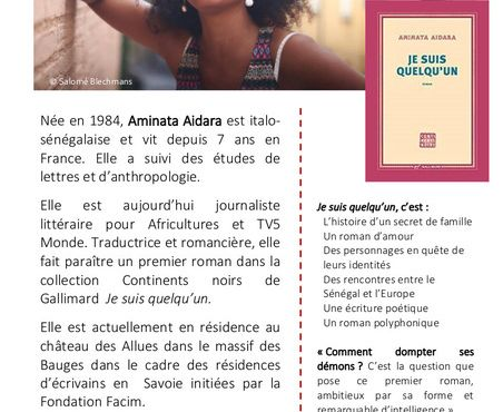 Venez rencontrer Aminata AIDARA au Dôme Médiathèque
